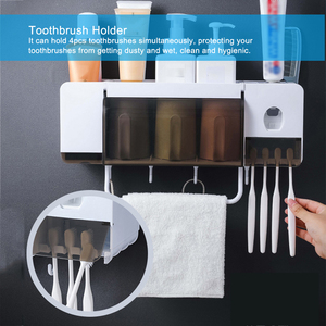 Image 5 - Wall mounted Toothbrush Holder Automatic Toothpaste Dispenser Bathroom Storage Rack Makeup Organizer Towel Holder With Cups