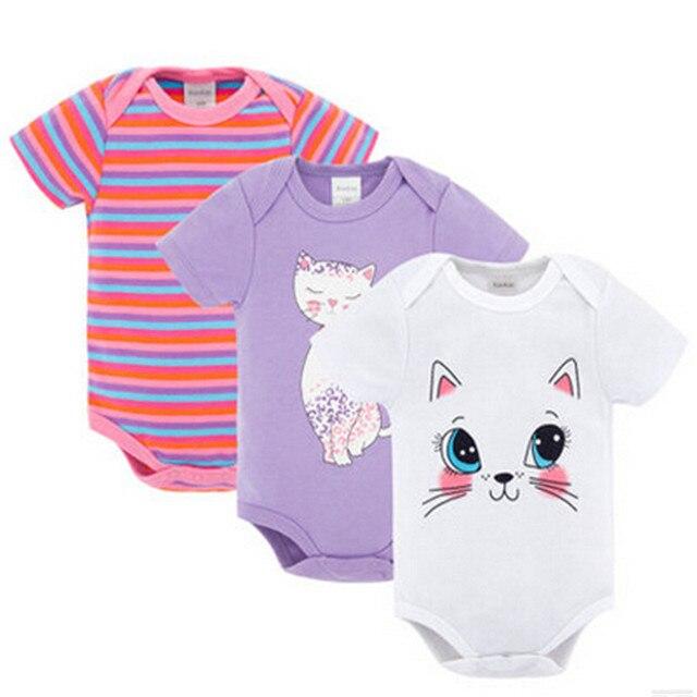 One piece боди новорожденный хлопка младенческой кот пижамы clothing набор комбинезон прекрасный короткий рукав нижнее белье кожи чистые одежды