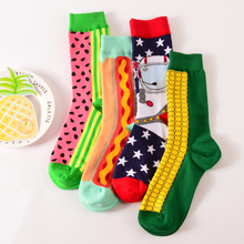 2018 Fashion Colorful Happy Socks Harajuku Long Cool Dress Cotton Contrast Socks Watermelon Corn Food Printed Women Funny Socks letter contrast graphic socks