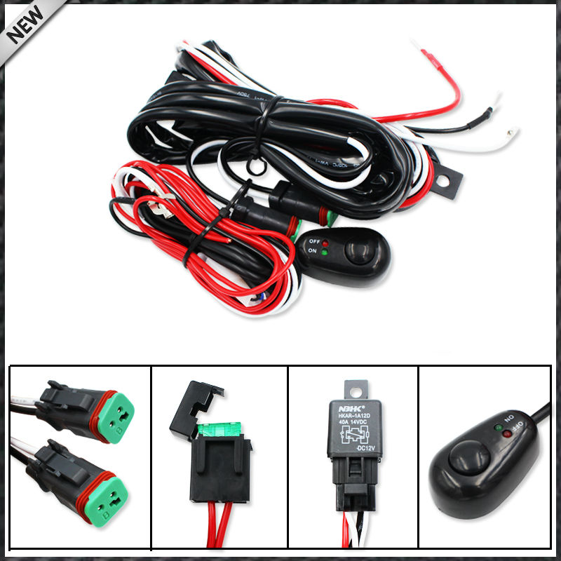 Deutsch DT DTP Connectors Relay Harness Wire Kit with LED Light ON/OFF Switch For Off-road LED Pod Lights, LED Worklamps, etc novello dn 8rb deutsch 8 wire receptacle blk