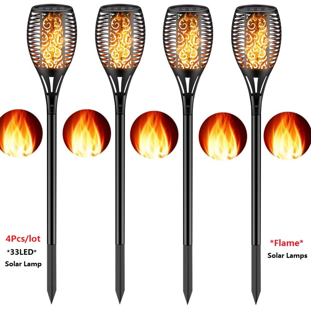 Solar Torch Lights Outdoor Flickering Flame Lights Garden Light Sensor Courtyard Flashing Flame Wall Light Waterproof Lawn Light Spotlight Landscape Decoration Lighting Dusk to Dawn Auto On//Off,2 Pack