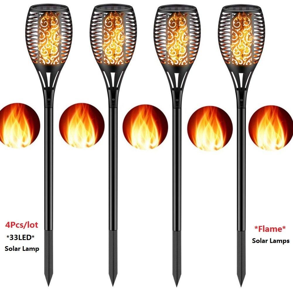 4 Pcs/lot danse flamme lumière solaire lumière Mpow IP65 LED étanche solaire torche lumière extérieure chemin cour décor solaire jardin lumière