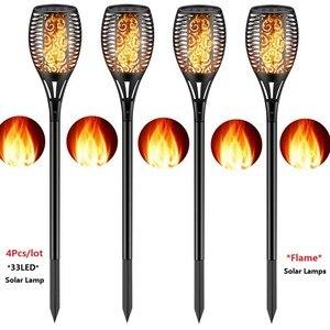 Image 1 - 4Pcs/lot Dancing Flame Light Solar Light Mpow IP65 Waterproof LED Solar Torch Light Outdoor Path Yard Decor Solar Garden Light
