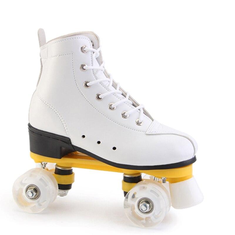 Blanc noir double rangée patins adultes à quatre roues patins à roulettes chaussures pour débutants patinage roller chaussures spéciales