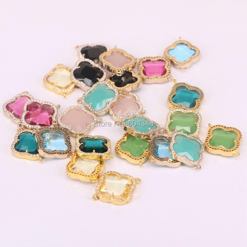 Prix pour 10 pcs Charme en forme de Trèfle Cristal Verre Connecteur Perles avec Zircon Pavée Or couleur sur Laiton fabrication de bijoux