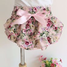 cotton Shabby Floral Baby Ruffle diaper cover Photoprop Bloomers Newborn Toddler
