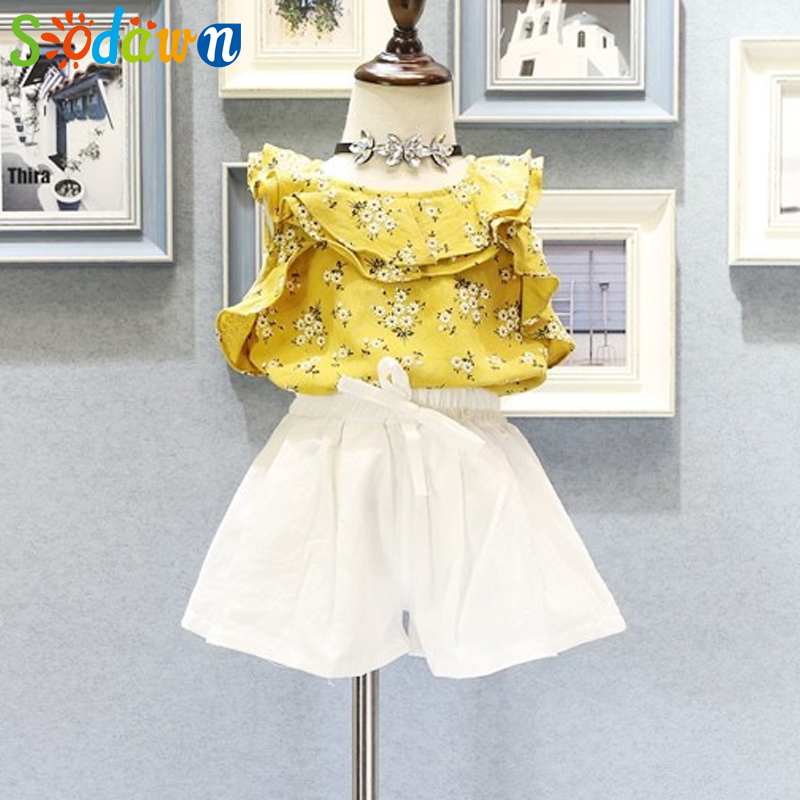 Sodawn Summer New Girl Cltothing Suit Fashion Floral Lotus Collar Vest + Shorts Suit Children Clohting Girls Clohthes 3-7Y