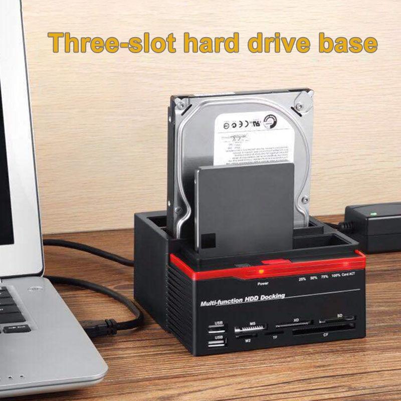 3 emplacements support de disque dur 2 Port USB Base de disque dur multifonction pour lecteur de carte GDeals