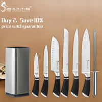 SOWOLL Kitchen Knives Cutlery Set 3cr13 Stainless Steel Chef Knives With Knife Block Holder And Knife Sharpener Rod Cooking Tool