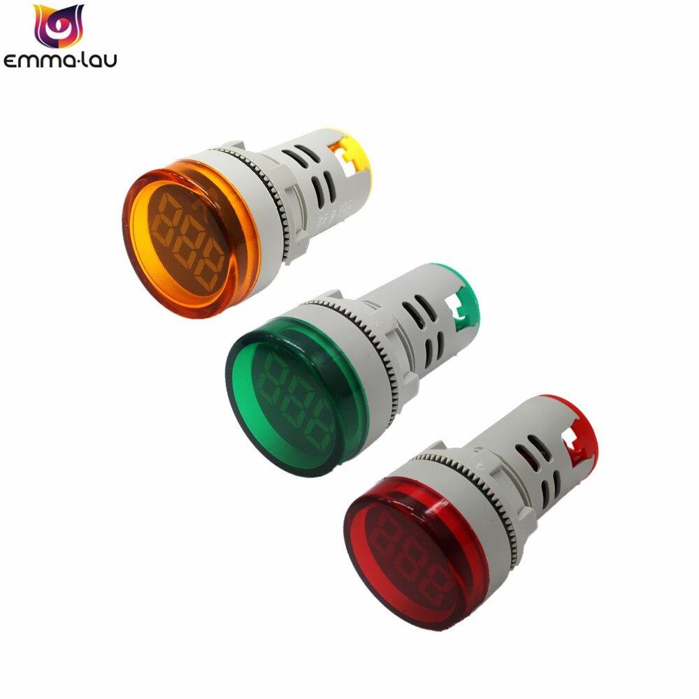 22MM Digital AC Voltmeter Voltage Meter Mini Indicator Lamp AD16 LED Display Voltage Detector Tester Lights 5 Colors 60-500V AC