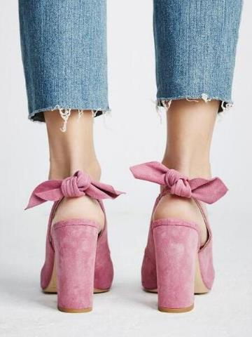 2019 Party Shoes Pink Butterfly-Knot Women Sandals with Pink Commuting Suede Womens  Pointed Toe Chunky Heels Slingback Shoes2019 Party Shoes Pink Butterfly-Knot Women Sandals with Pink Commuting Suede Womens  Pointed Toe Chunky Heels Slingback Shoes
