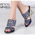 women shoes Rhinestone wedges genuine leather party slippers women slippers for women ladies Leisure Crystal slipper MX-T016