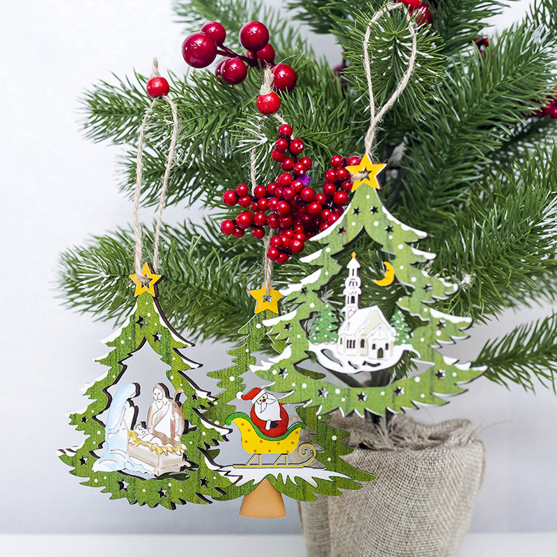 1 Pc Christmas Wooden Ornament Pendant Xmas Tree Hollow House Santa Claus Home Window New Year Party Hanging Decoration