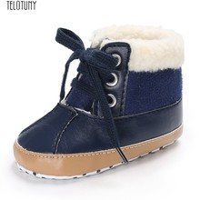 TELOTUNY Newborn Plus velvet warm fur baby short booties Baby Boys Warm Ankle Snow Boots Crib Shoes Anti-slip Sneakers Z1225(China)