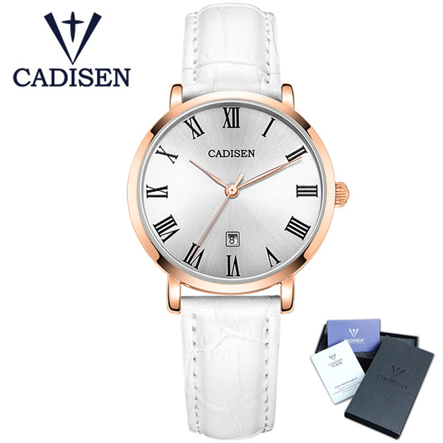 CADISEN Luxury Brand Quartz Watch Fashion Women Watches Elegant Ladies Dress Wristwatch Leather Strap Clock Reloj Mujer C2006 longbo luxury brand fashion quartz watch blue leather strap women wrist watches famous female hodinky clock reloj mujer gift