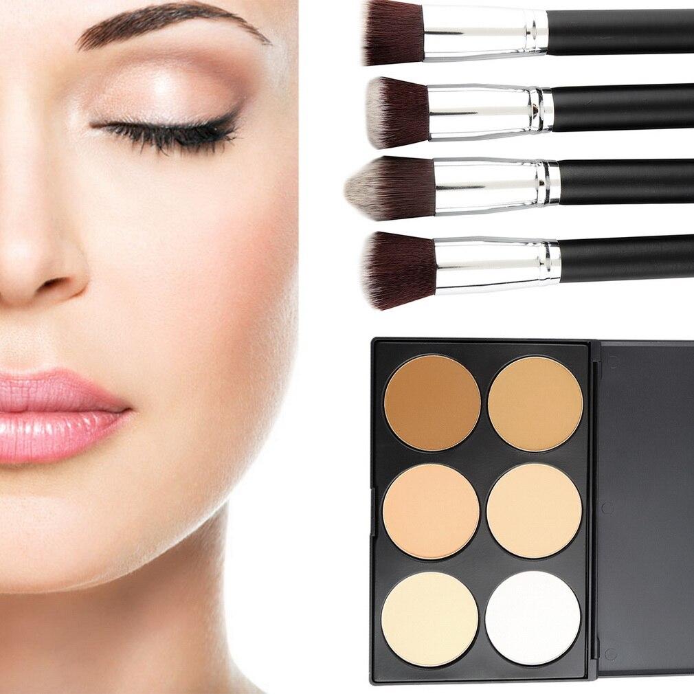 4 pcs Makeup Brush + 6 Colors' Contour Palette Brush Face Powder Cosmetic kit Wholesale High Quality makeup brush cleaning palette 2pcs