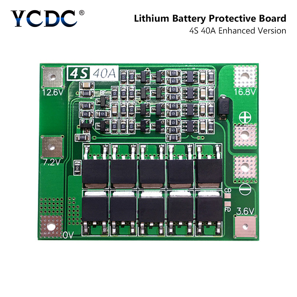 4S 40A 14.8V 16.8V Li-ion Lithium Lipo Battery 18650 26650 Charger PCB BMS Protection Board Charging Protect Module No Balance image