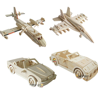 New Fancy Intelligent Educational Toy 3D Plane Model Wooden Puzzles Handmade Beaver Airplane Wood Car Aircraft