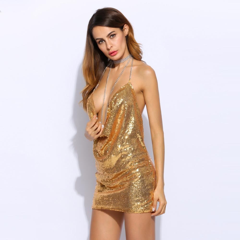 HTB1FxCTPpXXXXcrXFXXq6xXFXXXM - Women Sexy Spaghetti Strap Sequined dress sparkly halter backless metal club party dresses 3 Colors PTC 336