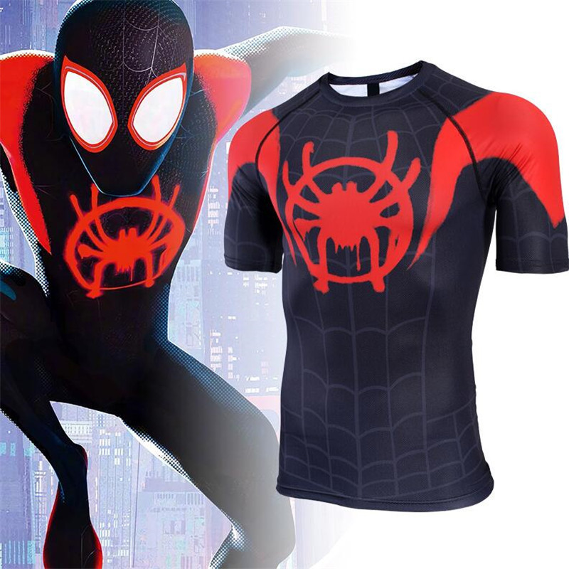 Hot New Movie Spider-Man Into the Spider-Verse Miles Armor Cosplay Costumes Quick Dry Tights T Shirt Short Sleeve Fashion Man