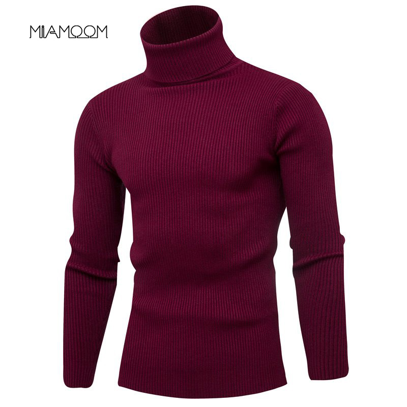 Sweater Men Turtleneck Solid Color Knitwear New Fashion Handsome Pullover Vertical Base Basic Casual Sweater