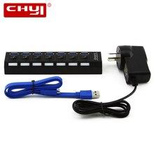 High Speed USB 3.0 HUB 7 Ports with Power Adapter EU/AU/US/UK 5Gbps Micro USB HUB Splitter for PC Peripherals Accessories HUB
