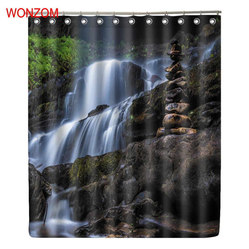 WONZOM Waterfall Shower Curtains For Bathroom Decor Modern Landscape Bath Waterproof Cur ...