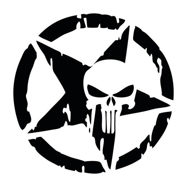 1 Pz Auto Car Punisher Cranio Stella Pentagram Del Vinile