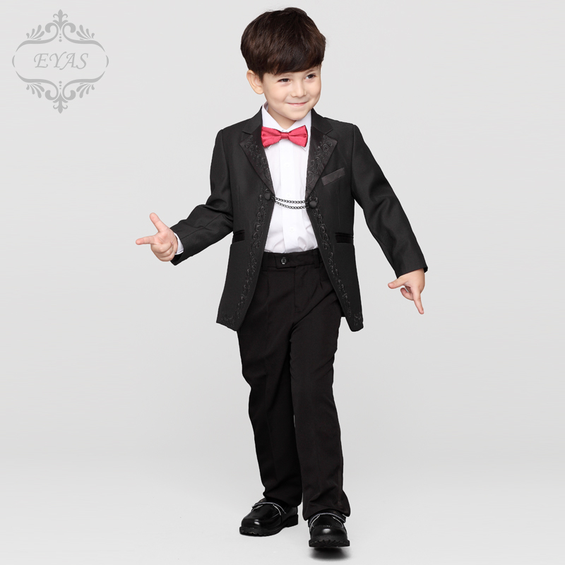 ФОТО 2016 Eyas New Boys Formal Suits for Weddings 3-12T Man Child Plaid Black England Style Suit Set Party Tuxedos Ring Bearer A1102