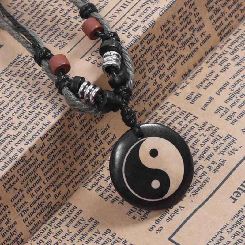 Chinese Tradition Tai Chi Pendant Necklace Pure Handmade Ox Bone Yin Yang Fish Gossip Pendant Necklace Amulet Mens Jewelry