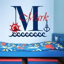 Nombre Personalizado extraíble Niños Habitación Tatuajes De Pared Ancla Del Barco Mar Etiqueta de la Pared Niños Parvulario Personalizó la Pared Murales Y-72