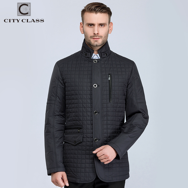 CITY CLASS New Spring Autumn Man Casual Jacket Fashion Slim Quilted coat Suit Stand Collar Jackets Business style for male 13021 stand collar ruffle hem quilted coat
