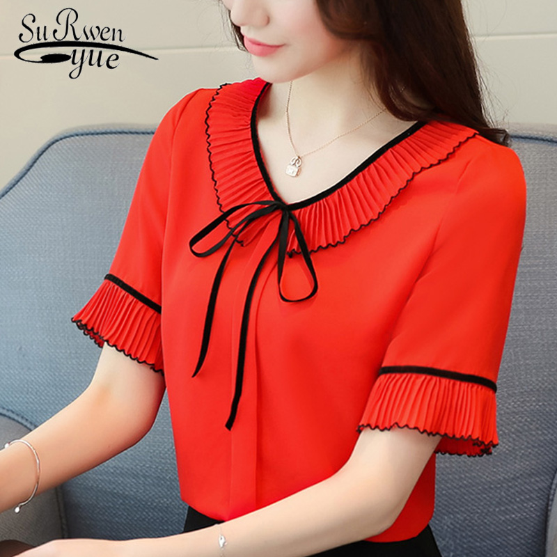 new chiffon women blouse shirt fashion 2019 plus size short sleeve red women's clothing bow v-neck feminine tops blusas D620 30