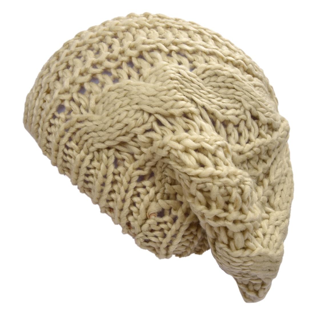 Бежевые зимние женские теплые вязаные вязать Берет Плетеный лыж Кепки Багги шапочка крючком женщин Hat