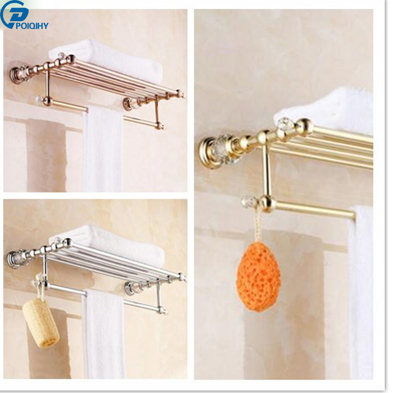 POIQIHY New design Brass+Crystal Gold Plating Towel Rack, towel Shelf With Bar, Towel Holder Bathroom Accessories luxury brass crystal gold plating towel rack towel shelf with bar towel holder bathroom accessories free shipping bath hardware