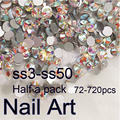 Half A Pack SS3-SS50 Crystal AB Nail Art Rhinestones With Round Flatback For Nails Decoration Cell Phone Clothes And Bags