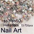 Medio Paquete SS3-SS50 Crystal AB Del Arte Del Clavo Con Redondo Flatback Para la Ropa Y Bolsas de Uñas Decoración Del Teléfono Celular