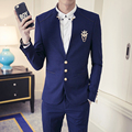 Masculino cuello alto delgado de manga larga traje trajes casuales la tendencia de la moda de alta calidad vestido formal