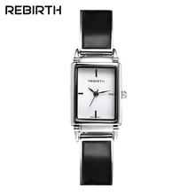 Luxury Brand REBIRTH Watches Women Oval Design Black Quartz Watch Clock Ladies Bracelet Wristwatches For Women