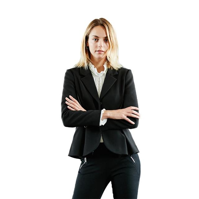 Black long sleeve zip decoration notched collar cropped blazers for women ladies formal OL peplum hem coats outwear for work 1