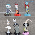 6pcs/set The Nightmare Before Christmas Jack Sally Car Autonmobile Head Shaking Doll PVC Figures Collectible Model Toy CSSH