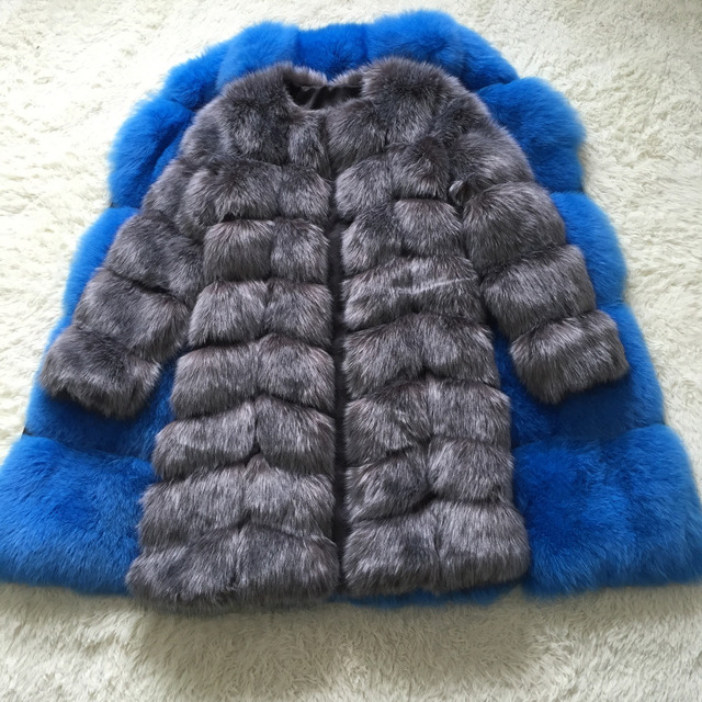 New Medium Long Fake Fox Fur Jacket Women Winter Faux Fox Fur Jackets Woman Warm Artifical Fox Fur Coats Female Ladies Fur 3