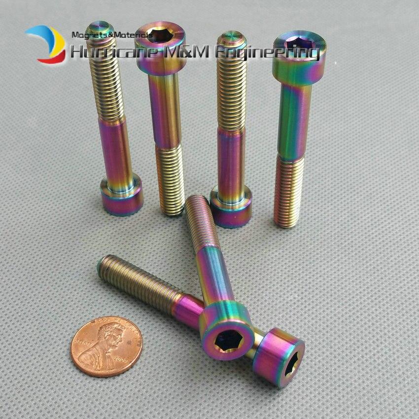 1 Pack Ti Bolt M8 x55mm Titanium Caplier Bolt Gold Multiple Color Column Head Hexagon Socket Ti Screws Allan Drive Ti Fasteners