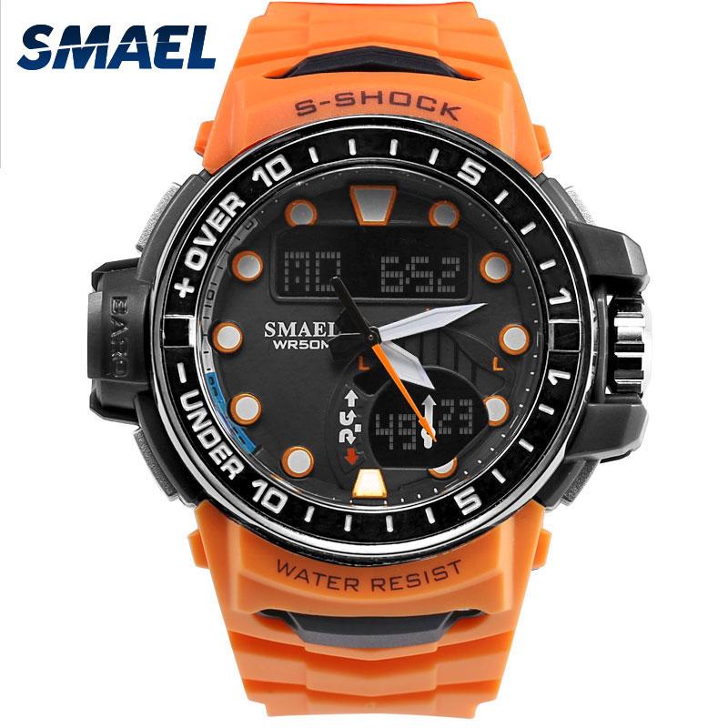 SMAEL Reloj de Los Hombres LED Reloj Deportivo Digital para Hombre Reloj S  Choque 1626 hombres Reloj Grande Del Dial Impermeable Deportes Naranja  relojes ... c54f2468320a