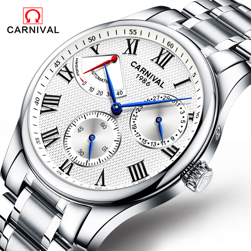 Carnival Mens Energy Display Automatic Mechanical Watches Men Multifunctional Luminous Stainless Steel Watch Relojes Hombre 2017 все цены