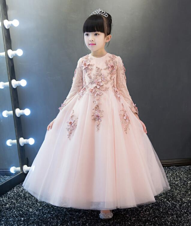 Pink sunny Children's Prom Dress long sleeve ankle length princess Evening dresses for girls Children dress up for girls holiday uniquewho girls women floral denim shirt dress birds flowers embroidery dress long sleeve elastic waist ankle length shirtdress