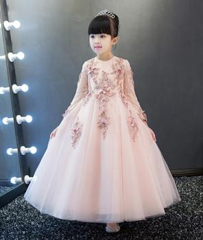 Pink sunny Children's Prom Dress long sleeve ankle length princess Evening dresses for girls Children dress up holiday - sale item Children's Clothing