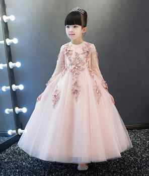 Pink sunny Children's Prom Dress long sleeve ankle length princess Evening dresses for girls Children dress up for girls holiday - DISCOUNT ITEM  48% OFF All Category