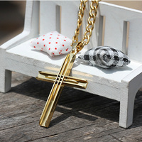 2015 Fashion Hot Sale Gold Plated Stainless Steel Jesus Cross Charm Necklace Pendant For Men S