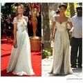 Vanessa Hudgens Ivory Celebrity Evening Dress Gossip Girl Season 3 Cap Sleeve A-Line Chiffon Prom Gown Sexy V-Neck Evening Gowns